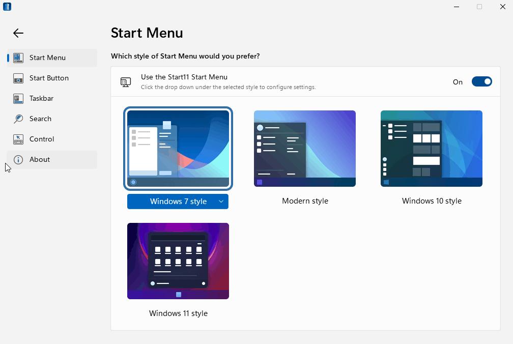 start 11 start menus for windows 11