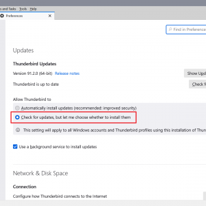 thunderbird disable automatic updates