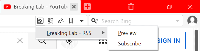 youtube subscribe rss vivaldi